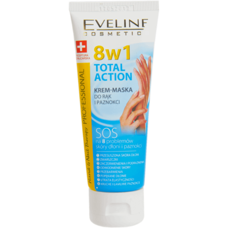 Eveline - TOTAL ACTION 8w1 KREM/MASKA SOS do rąk i paznokci, 75 ml.