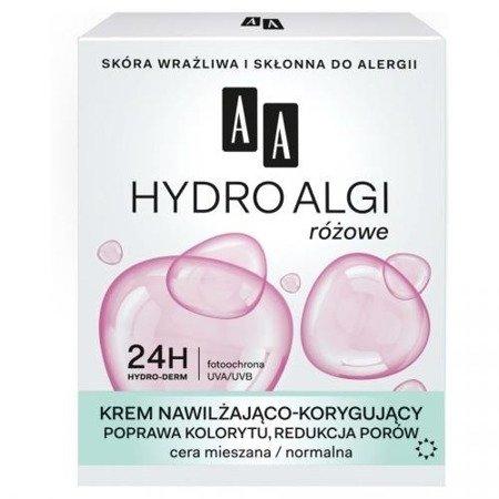 AA - Hydro Algi Różowe - KREM Nawilżająco-Korygujący do cery mieszanej i normalnej, na DZIEŃ i NOC, 50 ml.