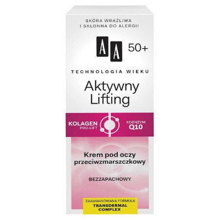 AA - Technologia Wieku, Aktywny Lifting 50+ - KREM przeciwzmarszczkowy pod oczy, 15 ml.