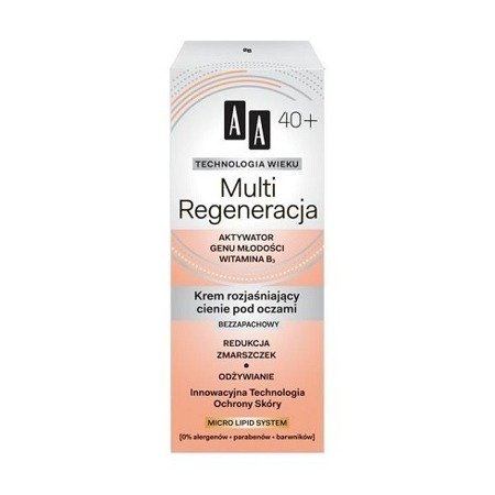 AA - Technologia Wieku, Multi Regeneracja 40+ - KREM rozjaśniający cienie pod oczami, 15 ml.
