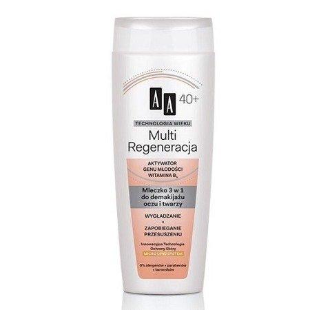 AA - Technologia Wieku, Multi Regeneracja 40+ - MLECZKO 3w1 do demakijażu oczu i twarzy, 200 ml.
