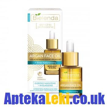 Bielenda - Argan Face Oil - OLEJEK z kwasem hialuronowym przeciw zmarszczkom i utracie elastyczności skóry na NOC, 15 ml.