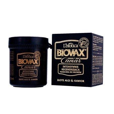 Biovax Glamour CAVIAR - MASECZKA intensywnie regenerująca do włosów ze złotymi algami i kawiorem, 125 ml.