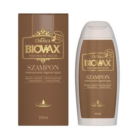 Biovax - SZAMPON intensywnie regenerująca do wszystkich włosów, zawiera Argan, Kokos, i Makadamia, 200 ml.