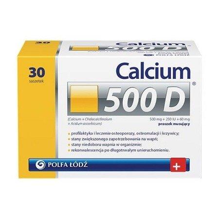 Calcium 500D - Wapno, witamina D3 i witamina C, 30 saszetek.