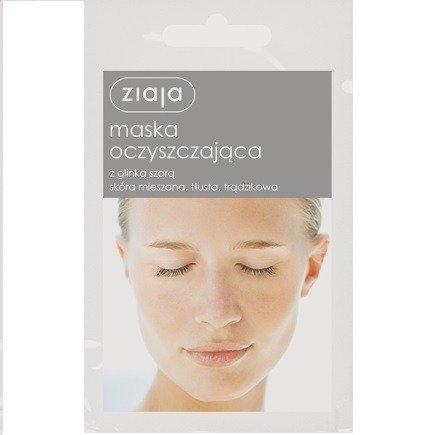 Ziaja - Maski z glinką - Maska Oczyszczająca z glinką szarą do cery mieszanej, tłustej i trądzikowej, 7 ml.