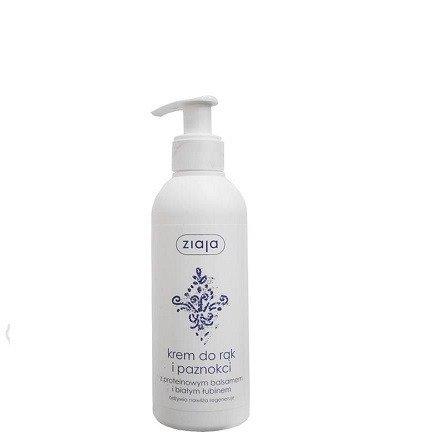 Ziaja - Pielęgnacja rąk - KREM do rąk i paznokci z proteinowym balsamem i białym łubinem, 200 ml. (dozownik)